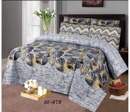 Grey Black Leaf Bed Sheet With 2 Pillow Covers – 3 PCS