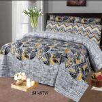 Grey Black Leaf Comforter Set