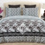 Grey Black Self Print Comforter Set ( 6 PCS – 8 PCS )