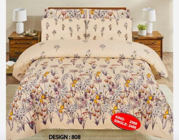Off White Bed Cover With 2 Pillow Covers – 3 PCS