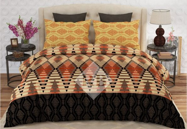 Orange Brown Printed Bed Sheets with 2 Pillows