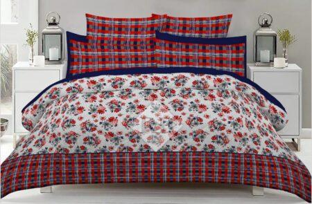Red lining Flowers Comforter Set ( 6 PCS - 8 PCS )