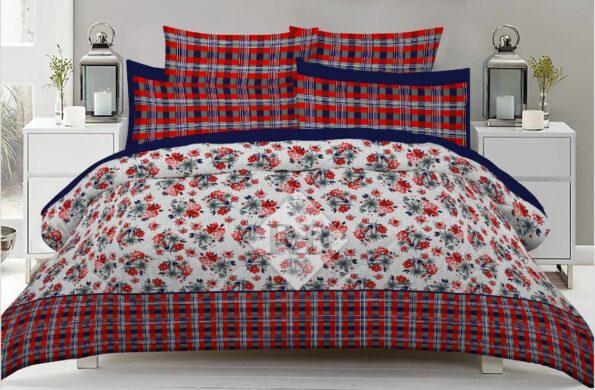 Red lining Flowers Comforter Set ( 6 PCS – 8 PCS )