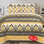Yellow Black Bed Sheet With 2 Pillow Covers – 3 PCS