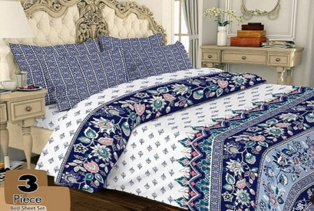 Blue Print Bed Sheets with 2 Pillow Covers