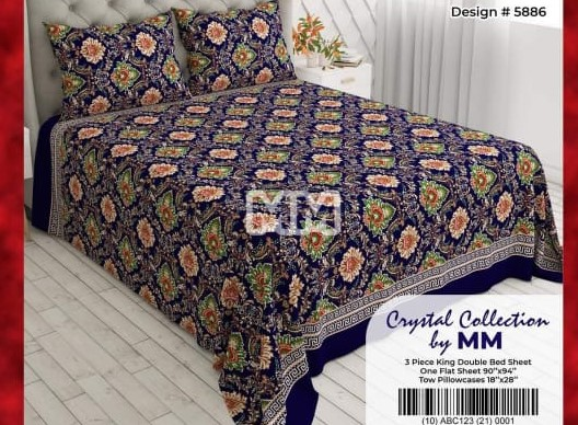 Blue Printed Bed Cover With 2 Pillow Covers