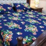 Blue Printed Bed Sheet Flowers With 2 Pillow Covers – 3 PCS