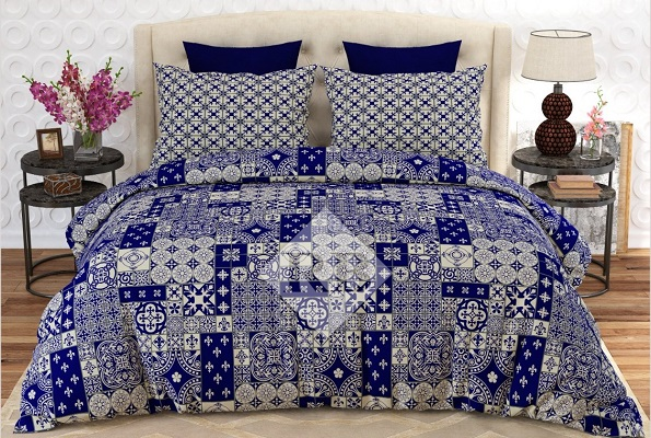 Blue Printed Bed Sheets with 2 Pillow Covers