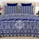 Blue White Printed Bed Sheets with 2 Pillow Covers