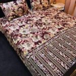 Brown Flowers Printed Lining Bed Sheet With 2 Pillow Covers – 3 PCS
