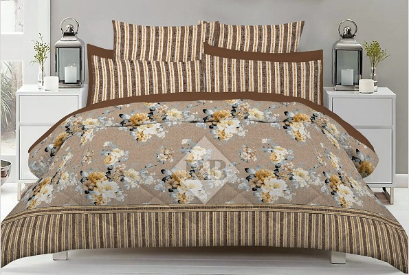 Brown Lining Print Bed Sheets with 2 Pillow Covers
