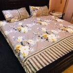 Brown Printed White Yellow Flowers Bed Set