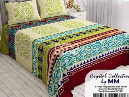 Colorful Design Bed Sheet With 2 Pillows