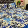 Ferozy Blue Leaf Printed Bed Sheet With 2 Pillow Covers – 3 PCS