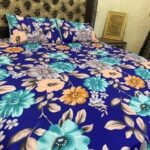 Flowers Printed Cotton Satin Bed Sheet With 2 Pillow Covers – 3 PCS
