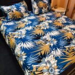 Flowers Printed Crystal Bed Sheet With 2 Pillow Covers – 3 PCS