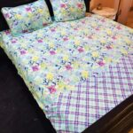 Flowers Printed Lining Bed Sheet With 2 Pillow Covers – 3 PCS