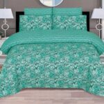 Green Print Bed Sheets with 2 Pillow Covers