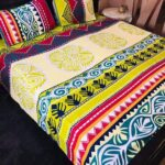 Multicolor Printed Bed Sheet With 2 Pillow Covers – 3 PCS