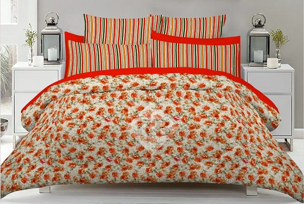Orange Bed Cover with 2 Pillow Covers