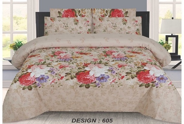 Printed Flower Brown Bed Sheets with 2 Pillow Covers