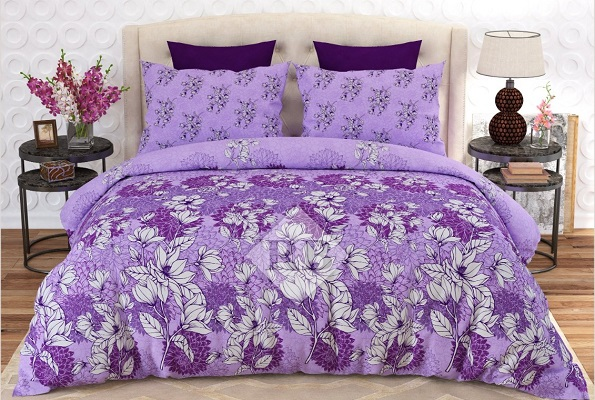Purple White Printed Bed Sheets with 2 Pillow Covers