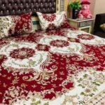 Red Crystal Printed Bed Sheet With 2 Pillow Covers – 3 PCS