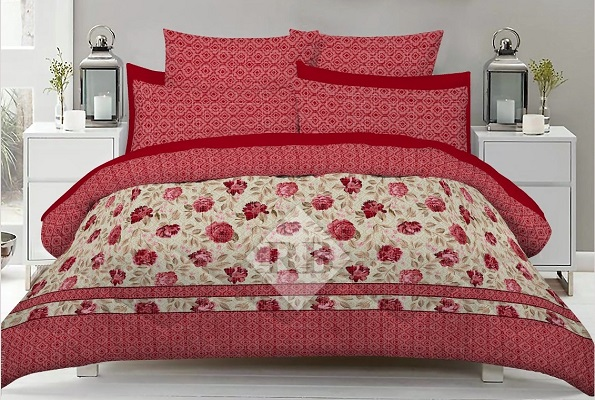 Red Print Bedding with 2 Pillow Covers
