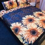 Sun Flower Printed Blue Bedding With 2 Pillow Covers – 3 PCS