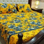 Yellow Printed Bed Cover With 2 Pillow Covers – 3 PCS