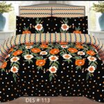 Black Printed Bedding With 2 Pillow Covers