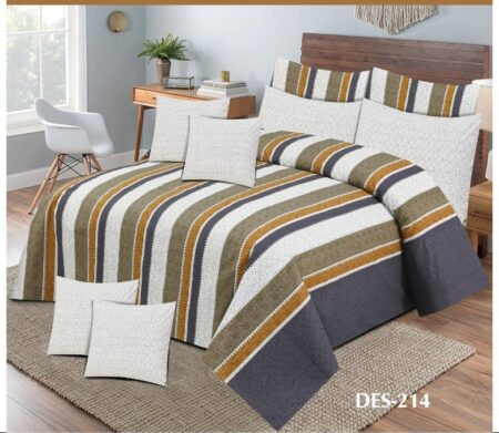 Brown Off White lining Printed Sheet With 2 Pillow Covers