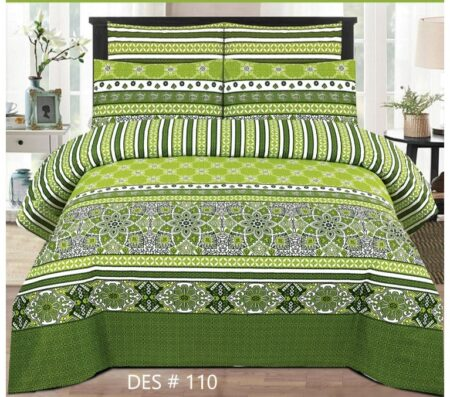 Green Bed Cover With 2 Pillow Covers