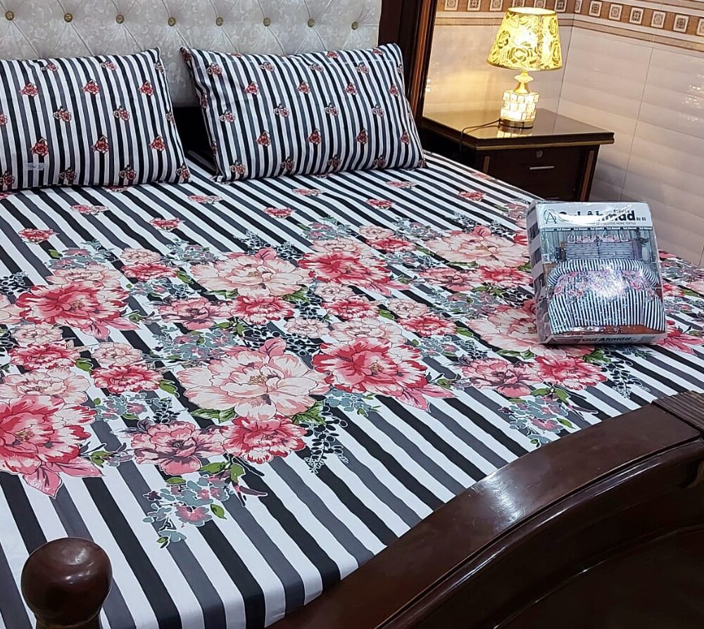 Lining Black White Printed Sheet With 2 Pillow Covers