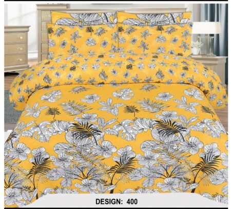 Yellow Bed Cover Printed With 2 Pillow Covers