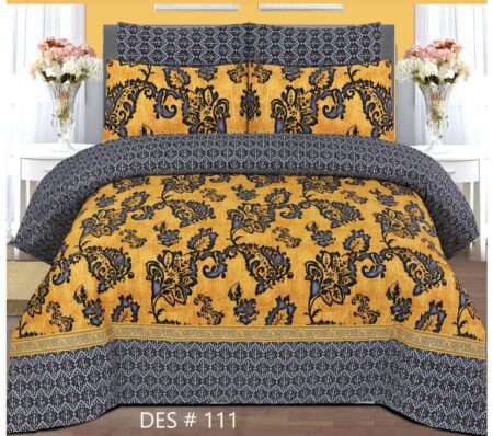 Yellow Printed Sheet With 2 Pillow Covers